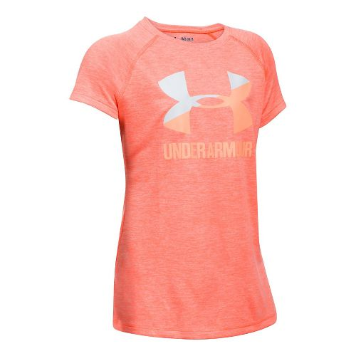 Under Armour Girls Novelty Big Logo Tee Short Sleeve Technical Tops - London Orange/White YM ...