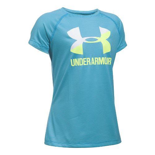Under Armour Girls Novelty Big Logo Tee Short Sleeve Technical Tops - Venetian Blue/White YXS ...