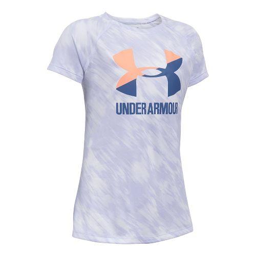 Under Armour Girls Novelty Big Logo Tee Short Sleeve Technical Tops - Lavender Ice/Peach YM ...