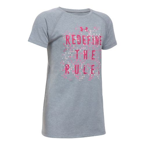 Under Armour Girls Redefine The Rules Tee Short Sleeve Technical Tops - Grey Heather/Pink YXL