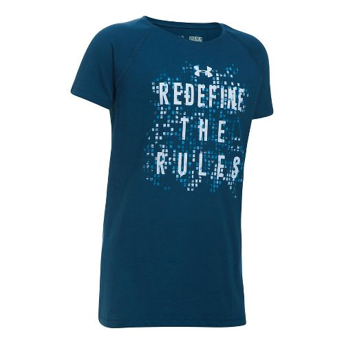 Under Armour Girls Redefine The Rules Tee Short Sleeve Technical Tops - Blackout Navy/Blue YS