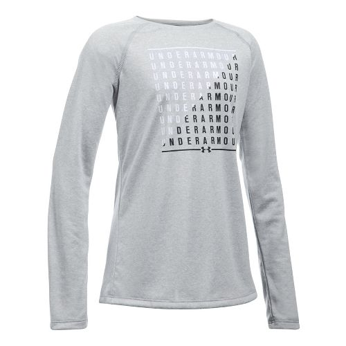 Under Armour Girls Slash Long Sleeve Technical Tops - Grey Heather/White YXL
