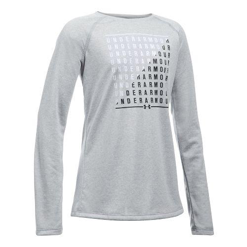 Under Armour Girls Slash Long Sleeve Technical Tops - Grey Heather/White YXS