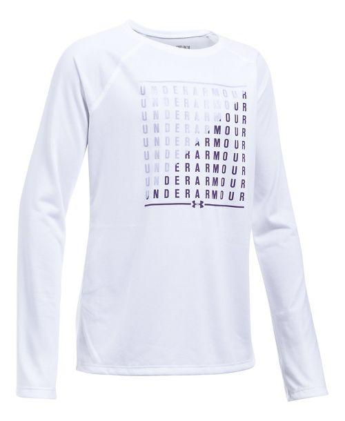 Under Armour Girls Slash Long Sleeve Technical Tops - White/Dark Lavender YXS