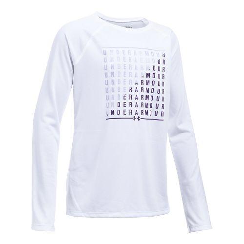 Under Armour Girls Slash Long Sleeve Technical Tops - White/Dark Lavender YS