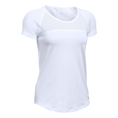 Womens Under Armour Fly By Tee Short Sleeve Technical Tops - White XL