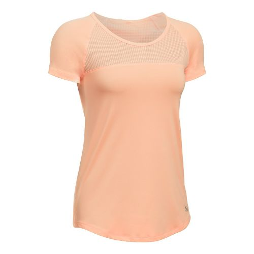 Womens Under Armour Fly By Tee Short Sleeve Technical Tops - Playful Peach L