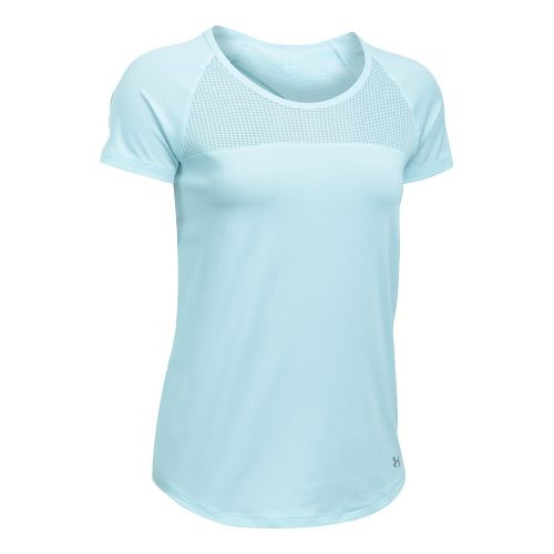 Womens Under Armour Fly By Tee Short Sleeve Technical Tops - Skylight M