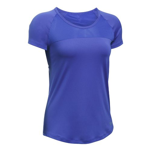 Womens Under Armour Fly By Tee Short Sleeve Technical Tops - Constellation Purple S