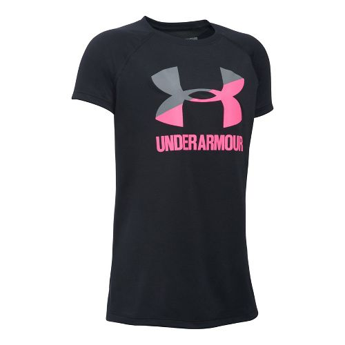 Under Armour Girls Solid Big Logo Tee Short Sleeve Technical Tops - Black/Pink YXS