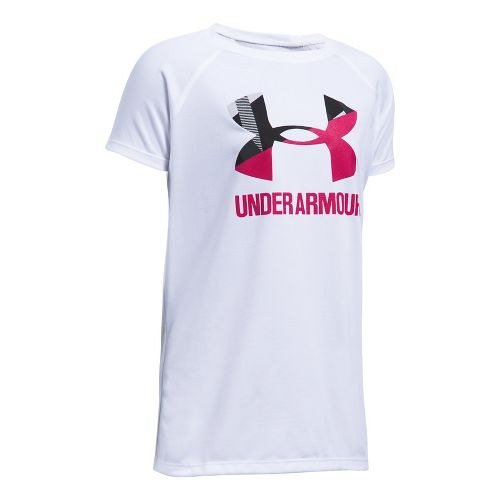 Under Armour Girls Solid Big Logo Tee Short Sleeve Technical Tops - White/Honeysuckle YL