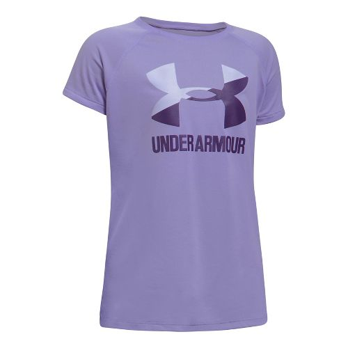 Under Armour Girls Solid Big Logo Tee Short Sleeve Technical Tops - Mediterranean/Navy YL