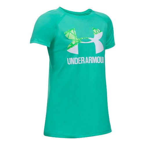 Under Armour Girls Solid Big Logo Tee Short Sleeve Technical Tops - Absinthe Green/White YL ...