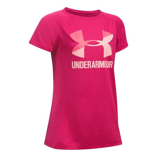 Under Armour Girls Solid Big Logo Tee Short Sleeve Technical Tops - Honeysuckle/Pink YM