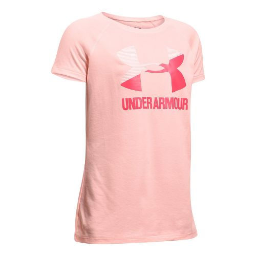 Under Armour Girls Solid Big Logo Tee Short Sleeve Technical Tops - Ballet Pink/Gala YXL ...