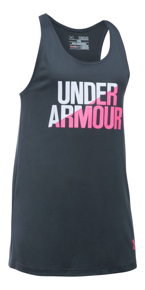 Under Armour Girls Sleeveless & Tank Tops Technical Tops - Stealth Grey/White YL