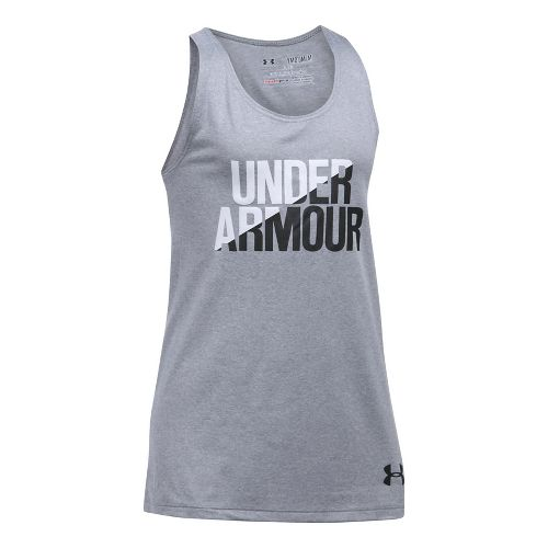 Under Armour Girls Sleeveless & Tank Tops Technical Tops - Grey Heather/White YS