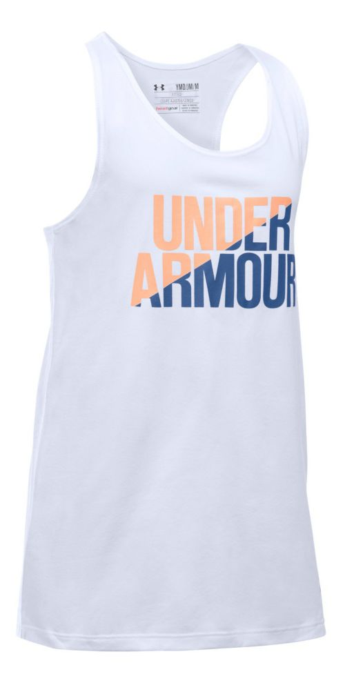 Under Armour Girls Sleeveless & Tank Tops Technical Tops - White/Playful Peach YL