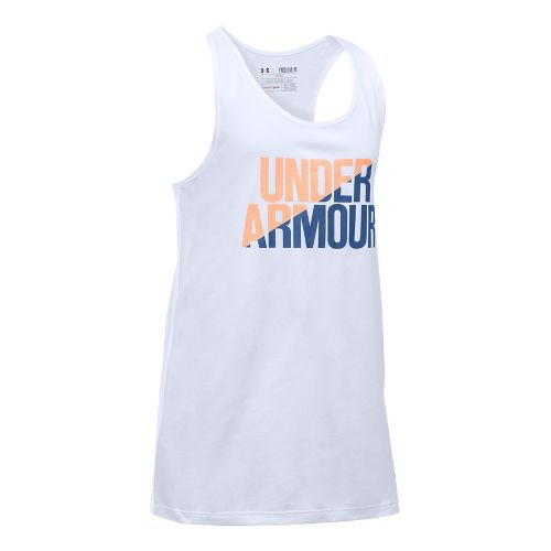 Under Armour Girls Sleeveless & Tank Tops Technical Tops - White/Playful Peach YM