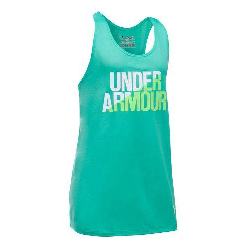 Under Armour Girls Sleeveless & Tank Tops Technical Tops - Absinthe Green/White YXS