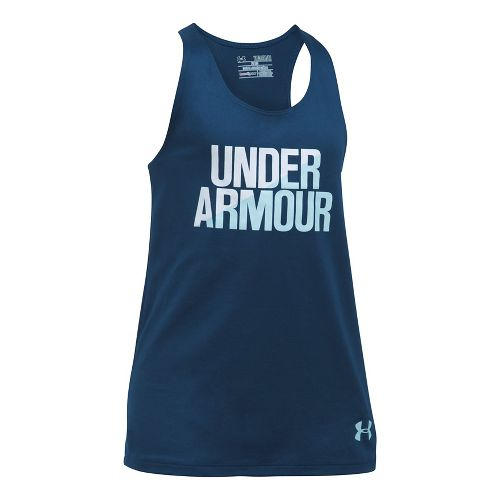 Under Armour Girls Sleeveless & Tank Tops Technical Tops - Blackout Navy/White YL