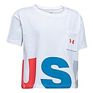 Under Armour Girls USA Crop Tee Short Sleeve Technical Tops - White YS
