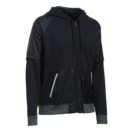 Womens Under Armour French Terry Warm Up Half-Zips & Hoodies Technical Tops - Black L ...