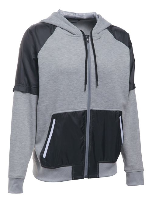 Womens Under Armour French Terry Warm Up Half-Zips & Hoodies Technical Tops - Grey/Black M