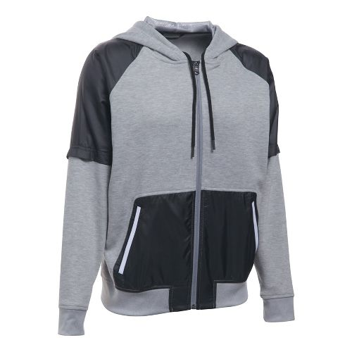 Womens Under Armour French Terry Warm Up Half-Zips & Hoodies Technical Tops - Grey/Black L ...