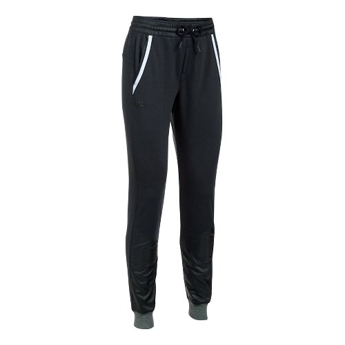 Womens Under Armour French Terry Warm Up Pants - Black XS