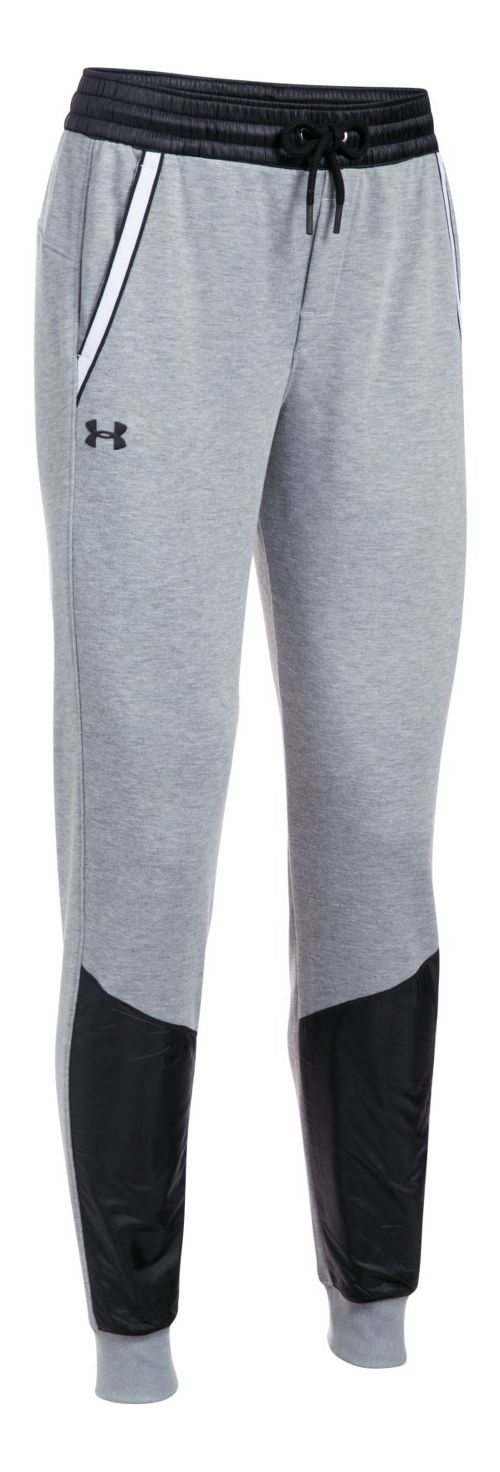 Womens Under Armour French Terry Warm Up Pants - Grey/Black M