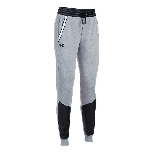 Womens Under Armour French Terry Warm Up Pants - Grey/Black L