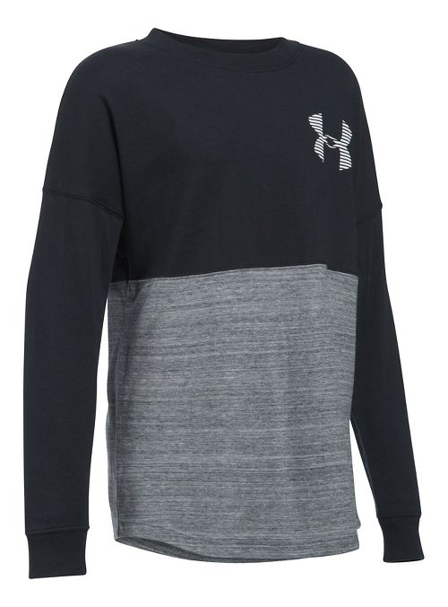 Under Armour Girls Varsity Crew Long Sleeve Technical Tops - Black YS