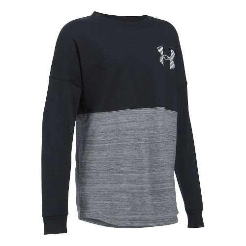 Under Armour Girls Varsity Crew Long Sleeve Technical Tops - Black YL