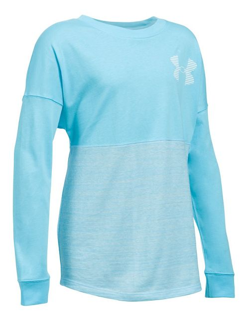 Under Armour Girls Varsity Crew Long Sleeve Technical Tops - Venetian Blue YXS