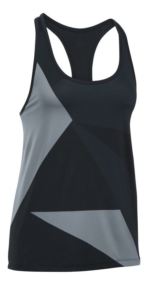 Womens Under Armour Geo Run Sleeveless & Tank Tops Technical Tops - Black/Steel S