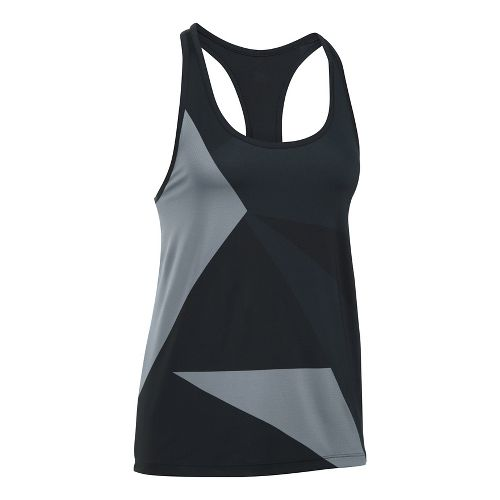 Womens Under Armour Geo Run Sleeveless & Tank Tops Technical Tops - Black/Steel L