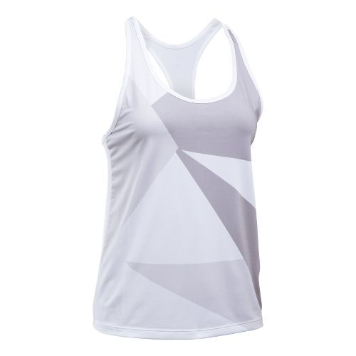 Womens Under Armour Geo Run Sleeveless & Tank Tops Technical Tops - White/Black L