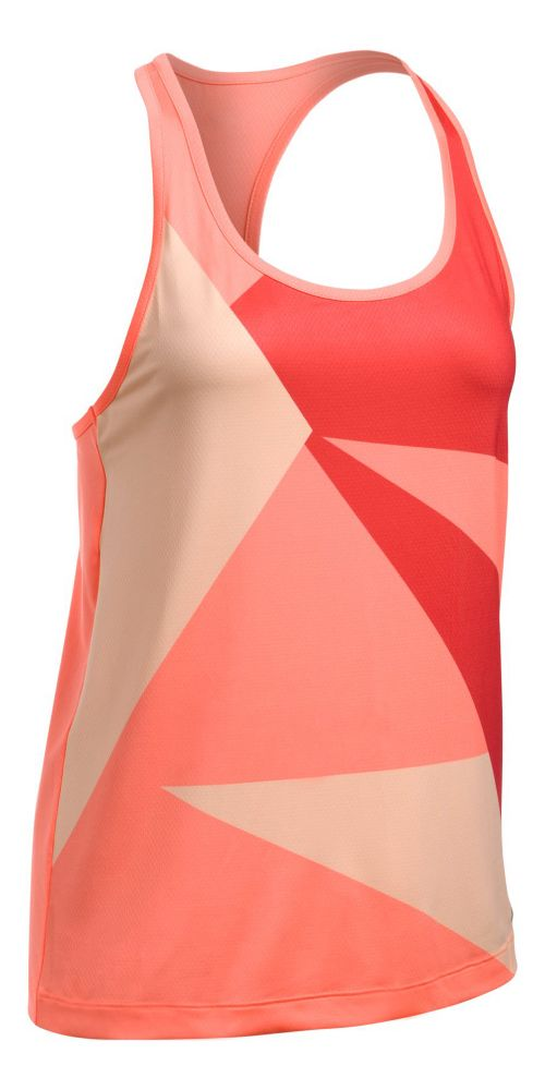 Womens Under Armour Geo Run Sleeveless & Tank Tops Technical Tops - Orange/White XL