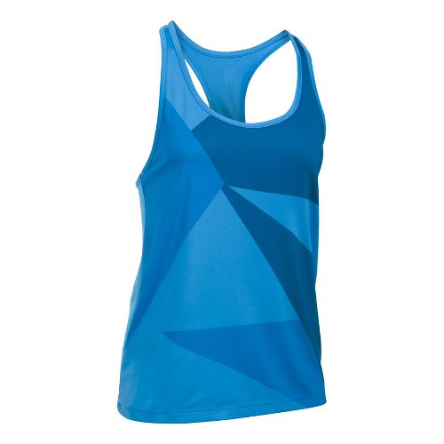 Womens Under Armour Geo Run Sleeveless & Tank Tops Technical Tops - Mediterranean/Navy M