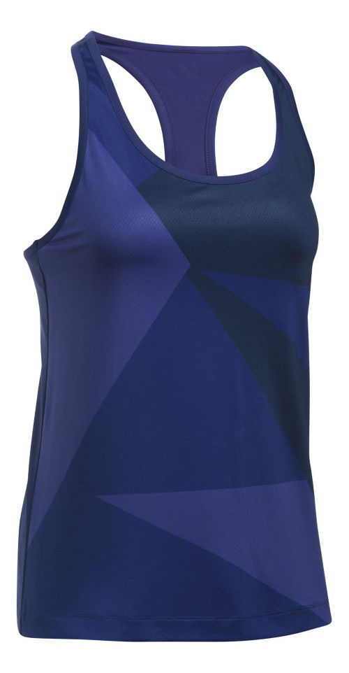 Womens Under Armour Geo Run Sleeveless & Tank Tops Technical Tops - Purple/Navy S