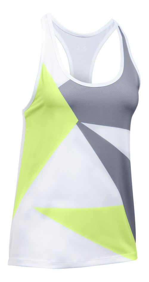 Womens Under Armour Geo Run Sleeveless & Tank Tops Technical Tops - Moonlight/White S