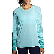 Womens Brooks Distance Printed Long Sleeve Technical Tops