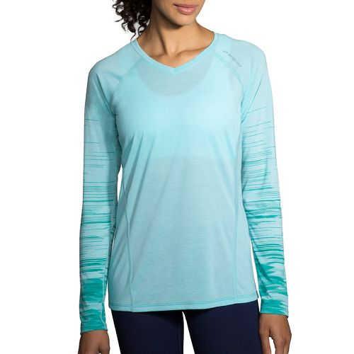 Womens Brooks Distance Printed Long Sleeve Technical Tops - Heather Mirage/Tile XXL