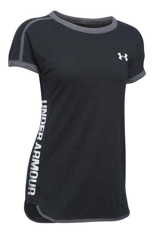 Womens Under Armour Mesh Inset Wordmark Tee Short Sleeve Technical Tops - Black Heather S