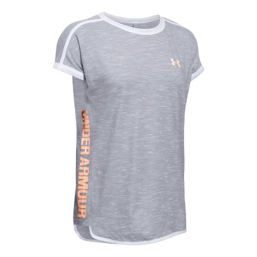 Womens Under Armour Mesh Inset Wordmark Tee Short Sleeve Technical Tops - Grey Heather L ...