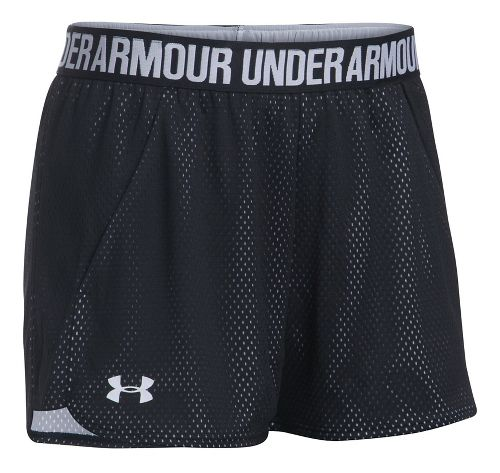 Womens Under Armour Mesh Play Up Unlined Shorts - Black/White L