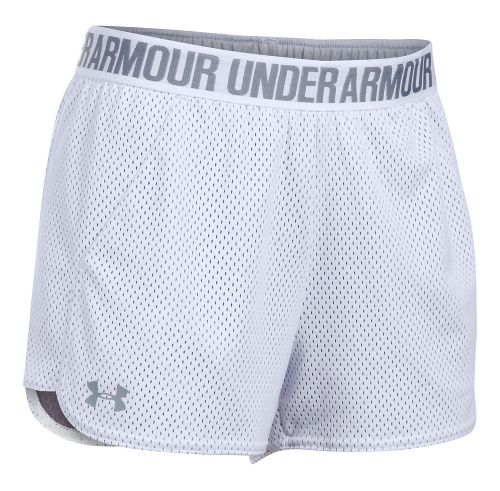 Womens Under Armour Mesh Play Up Unlined Shorts - White/Steel XL