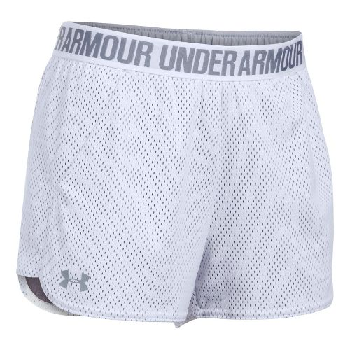 Womens Under Armour Mesh Play Up Cycling Shorts - White/Steel L