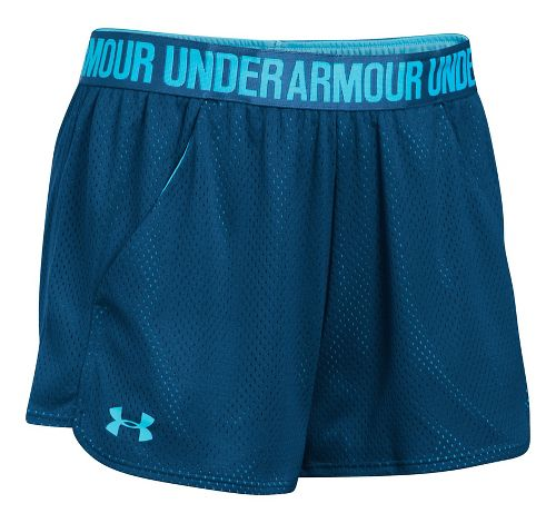 Womens Under Armour Mesh Play Up Unlined Shorts - Navy/Blues XL